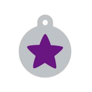 large-purple-and-silver-star-disc-pet-tag